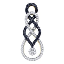 0.35 CTW Black Color Diamond Cluster Pendant 10KT Yellow Gold - REF-30H2M