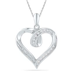 0.16 CTW Diamond Heart Outline Pendant 10KT White Gold - REF-14Y9X