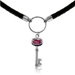 Genuine 0.50 ctw Pink Topaz Necklace Jewelry 14KT White Gold - REF-66M2T