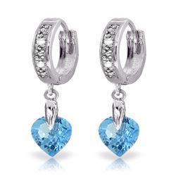 Genuine 1.77 ctw Blue Topaz & Diamond Earrings Jewelry 14KT White Gold - REF-35R2P