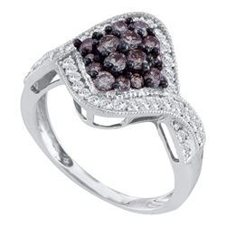 1 CTW Cognac-brown Color Diamond Cluster Ring 10KT White Gold - REF-49Y5X