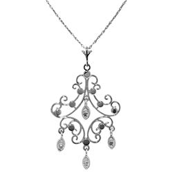 Genuine 0.02 ctw Diamond Anniversary Necklace Jewelry 14KT White Gold - REF-36N5R