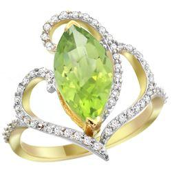 Natural 3.07 ctw Peridot & Diamond Engagement Ring 14K Yellow Gold - REF-77W4K