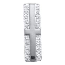 0.07 CTW Diamond Cross Pendant 10KT White Gold - REF-6X2Y
