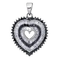 0.90 CTW Black Color Diamond Framed Heart Pendant 10KT White Gold - REF-34M4H