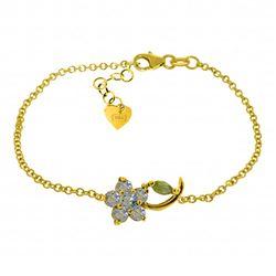 Genuine 0.87 ctw Aquamarine & Pearl Bracelet Jewelry 14KT Yellow Gold - REF-51K2V