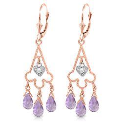 Genuine 4.83 ctw Amethyst & Diamond Earrings Jewelry 14KT Rose Gold - REF-52Y7F