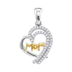 0.20 CTW Diamond Mom Heart Pendant 10KT Two-tone Gold - REF-14Y9X