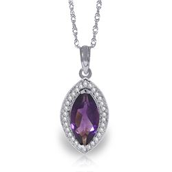 Genuine 1.80 ctw Amethyst & Diamond Necklace Jewelry 14KT White Gold - REF-61X6M
