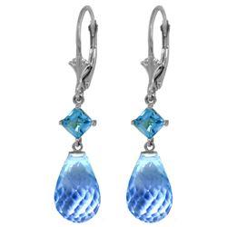Genuine 11 ctw Blue Topaz Earrings Jewelry 14KT White Gold - REF-39W3Y