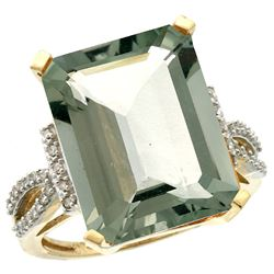 Natural 12.14 ctw green-amethyst & Diamond Engagement Ring 10K Yellow Gold - REF-53X2A