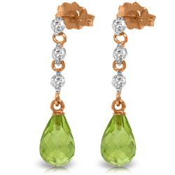 Genuine 3.3 ctw Peridot & Diamond Earrings Jewelry 14KT Rose Gold - REF-42H9X