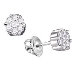 0.15 CTW Diamond Flower Screwback Stud Earrings 14k White Gold - REF-16F4N