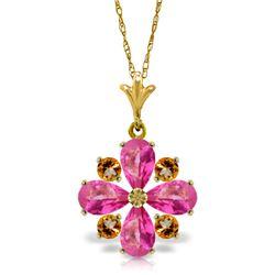 Genuine 2.43 ctw Pink Topaz & Citrine Necklace Jewelry 14KT Yellow Gold - REF-30A2K