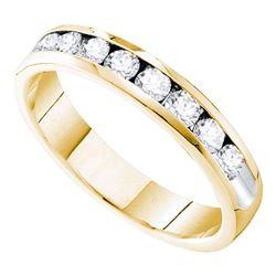 0.75 CTW Diamond 4mm Wedding Ring 14KT Yellow Gold - REF-101H9M