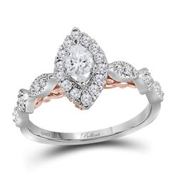 0.76 CTW Marquise Diamond Solitaire Bellina Bridal Ring 14KT Two-tone Gold - REF-120K2W