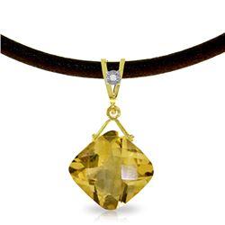 Genuine 8.76 ctw Citrine & Diamond Necklace Jewelry 14KT Yellow Gold - REF-30T6A