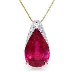 Genuine 5 ctw Ruby Necklace Jewelry 14KT Yellow Gold - REF-49F8Z