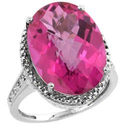 Natural 13.6 ctw Pink-topaz & Diamond Engagement Ring 14K White Gold - REF-75H6W