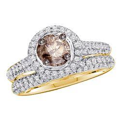 1.23 CTW Cognac-brown Color Diamond Bridal Set 14KT Yellow Gold - REF-87K2W