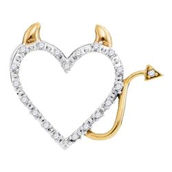 0.06 CTW Diamond Naughty Devil Heart Pendant 10KT Yellow Gold - REF-8N9F