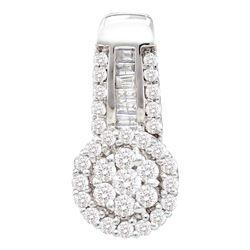 0.52 CTW Diamond Cluster Pendant 14KT White Gold - REF-44Y9X