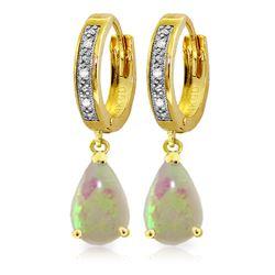 Genuine 1.58 ctw Opal & Diamond Earrings Jewelry 14KT Yellow Gold - REF-60H3X