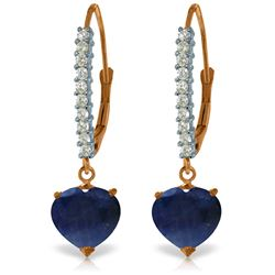 Genuine 3.4 ctw Sapphire & Diamond Earrings Jewelry 14KT Rose Gold - REF-75N6R