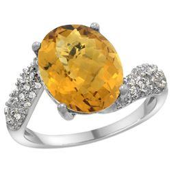 Natural 6.45 ctw quartz & Diamond Engagement Ring 14K White Gold - REF-52X2A