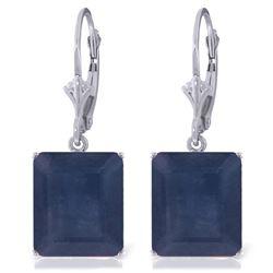 Genuine 14 ctw Sapphire Earrings Jewelry 14KT White Gold - REF-121Z7N
