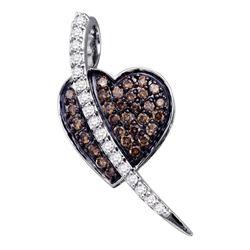 0.50 CTW Cognac-brown Color Diamond Heart Love Pendant 10KT White Gold - REF-25X4Y