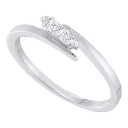 0.10 CTW Diamond 3-stone Promise Bridal Engagement Ring 10KT White Gold - REF-11W2K