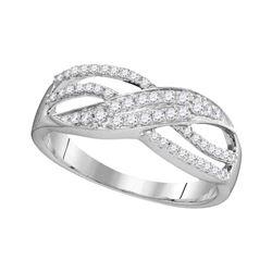 0.30 CTW Diamond Crossover Ring 10KT White Gold - REF-19W4K