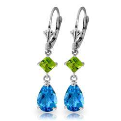 Genuine 4.5 ctw Blue Topaz & Peridot Earrings Jewelry 14KT White Gold - REF-41K4V