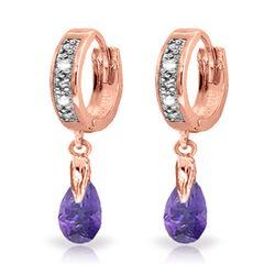 Genuine 1.37 ctw Amethyst & Diamond Earrings Jewelry 14KT Rose Gold - REF-34A3K
