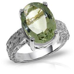 Genuine 7.5 ctw Green Amethyst Ring Jewelry 14KT White Gold - REF-125F9Z
