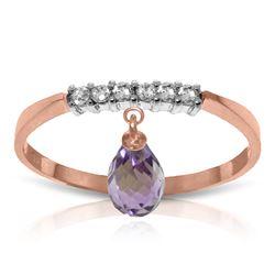 Genuine 1.45 ctw Amethyst & Diamond Ring Jewelry 14KT Rose Gold - REF-34K3V