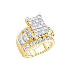 3 CTW Princess Diamond Cluster Bridal Engagement Ring 14KT Yellow Gold - REF-271M4H