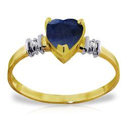 Genuine 1.03 ctw Sapphire & Diamond Ring Jewelry 14KT Yellow Gold - REF-34K6V