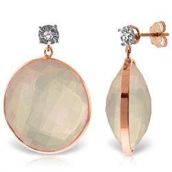 Genuine 34.06 ctw Rose Quartz & Diamond Earrings Jewelry 14KT Rose Gold - REF-65N3R