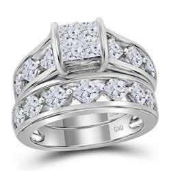 3 CTW Princess Diamond Bridal Engagement Ring 14KT White Gold - REF-387F2N