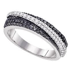 0.45 CTW Black Color Diamond Crossover Ring 10KT White Gold - REF-49M5H