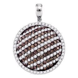 2.24 CTW Cognac-brown Color Diamond Circle Pendant 10KT White Gold - REF-119H9M