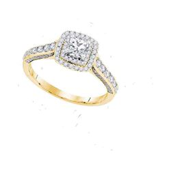 1 CTW Princess Diamond Solitaire Bridal Engagement Ring 14KT Yellow Gold - REF-127H4M