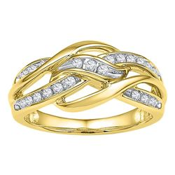 0.25 CTW Diamond Woven Knot Strand Ring 10KT Yellow Gold - REF-37W5K