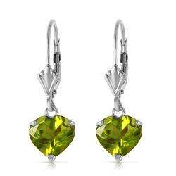 Genuine 3.25 ctw Peridot Earrings Jewelry 14KT White Gold - REF-29X2M
