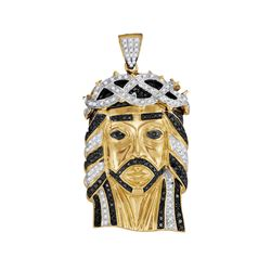 1.25 CTW Mens Black Color Diamond Jesus Pendant 10KT Yellow Gold - REF-134X9Y