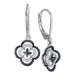 0.35 CTW Black Color Diamond Leverback Dangle Earrings 10KT White Gold - REF-24W2K