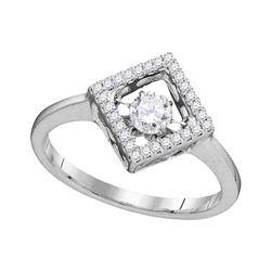 0.19 CTW Diamond Solitaire Diagonal Square Ring 14KT White Gold - REF-38K9W