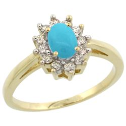Natural 0.67 ctw Turquoise & Diamond Engagement Ring 14K Yellow Gold - REF-49W2K